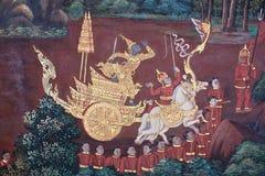 Αρχαία χρωματισμένη νωπογραφία στο ταϊλανδικό ύφος Στοκ φωτογραφίες με δικαίωμα ελεύθερης χρήσης