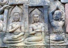 Αρχαία bas-ανακούφιση στο πεζούλι των ελεφάντων σε Angkor, ασβέστιο Στοκ εικόνες με δικαίωμα ελεύθερης χρήσης