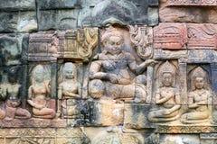 Αρχαία bas-ανακούφιση στο πεζούλι των ελεφάντων σε Angkor Tho Στοκ Φωτογραφία