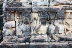 Αρχαία bas-ανακούφιση στο πεζούλι των ελεφάντων σε Angkor Tho Στοκ εικόνα με δικαίωμα ελεύθερης χρήσης