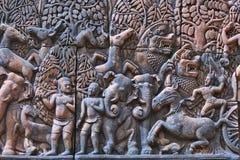 Αρχαία bas-ανακούφιση hinduist σε Angkor Wat, Καμπότζη Στοκ Φωτογραφίες