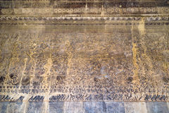 Αρχαία Khmer bas-ανακούφιση στο ναό Angkor Wat, Καμπότζη Στοκ Εικόνες