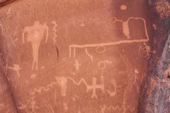 Αρχαία Petroglyphs Moab, Γιούτα Στοκ Εικόνα