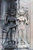 Αρχαίες ανακουφίσεις στο ναό Angkor Wat, Καμπότζη Στοκ Φωτογραφίες