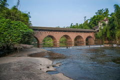 Αρχαίες γέφυρες γεφυρών ποταμών Huaying - Αστέρι (γέφυρα συνόρων) Στοκ Φωτογραφία