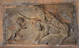 Αρχαίες γλυπτικές σε μια πέτρα Στοκ Φωτογραφία