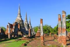 Αρχαίες ιερές βουδιστικές καταστροφές ναών του Si Sanphet Wat Phra στην ιστορική πόλη Ayutthaya, Ταϊλάνδη Στοκ Εικόνα