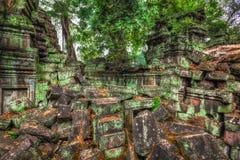Αρχαίες καταστροφές και ρίζες δέντρων, ναός TA Prohm, Angkor, Καμπότζη Στοκ Φωτογραφίες