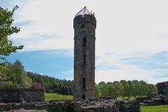 Αρχαίες καταστροφές μέσω των πράσινων δέντρων του irvine Σκωτία Eglinton Castle στοκ φωτογραφία
