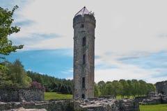 Αρχαίες καταστροφές μέσω των πράσινων δέντρων του irvine Σκωτία Eglinton Castle στοκ εικόνες