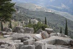 αρχαίες καταστροφές μουσείων των Δελφών Ελλάδα Ελλάδα Στοκ εικόνες με δικαίωμα ελεύθερης χρήσης