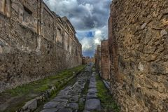 Αρχαίες καταστροφές στηλών μετά από την έκρηξη του Βεζούβιου στην Πομπηία, Ιταλία Στοκ Εικόνες