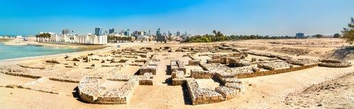 Αρχαίες καταστροφές στο οχυρό του Μπαχρέιν Μια περιοχή παγκόσμιων κληρονομιών της ΟΥΝΕΣΚΟ Στοκ Φωτογραφίες