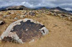Αρχαίες νεολιθικές γλυπτικές βράχου που απεικονίζουν το κυνήγι, Cholpon ΑΤΑ, ακτή λιμνών issyk-Kul, Κιργιστάν, κεντρική Ασία, κλη στοκ εικόνα