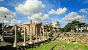 αρχαίες πόλεων ημέρας φόρουμ της Ιταλίας καταστροφές της Ρώμης τοπίων ρωμαϊκές ηλιόλουστες απόθεμα βίντεο