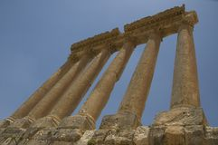 αρχαίες στήλες Λίβανος baalbeck Στοκ Εικόνα