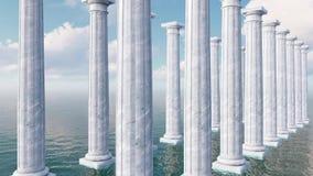 Αρχαίες tuscan στήλες μεταξύ της τρισδιάστατης ζωτικότητας θάλασσας φιλμ μικρού μήκους