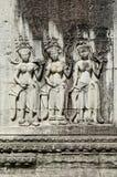 Αρχαίοι ασιατικοί χαρασμένοι πέτρα αριθμοί στο ναό Καμπότζη angkor wat Στοκ φωτογραφίες με δικαίωμα ελεύθερης χρήσης