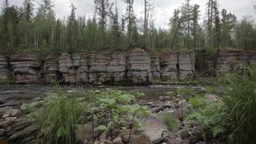 Αρχαίοι βράχοι βαθιά στο taiga απόθεμα βίντεο