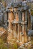 Αρχαίοι τάφοι περικοπών βράχου Lycian Στοκ Φωτογραφίες