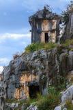 Αρχαίοι τάφοι περικοπών βράχου Lycian Στοκ φωτογραφία με δικαίωμα ελεύθερης χρήσης