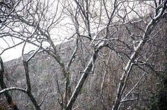 Αρχαίοι τοίχοι στη χιονοθύελλα Στοκ Εικόνες