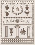Αρχαίος Έλληνας και ρωμαϊκά στοιχεία σχεδίου διανυσματική απεικόνιση