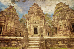 Αρχαίος βουδιστικός khmer ναός στο αναδρομικό ύφος Στοκ Εικόνα