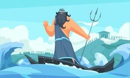 Αρχαίος Θεός Poseidon διανυσματική απεικόνιση
