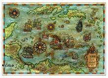 Αρχαίος καραϊβικός χάρτης θάλασσας με τα σκάφη και τα νησιά πειρατών απεικόνιση αποθεμάτων