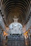 Αρχαίος ναός Βουδιστών στις σπηλιές Ajanta, Ινδία Στοκ Φωτογραφίες