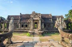 Αρχαίος ναός σε Angkor Wat, ύφασμα Καμπότζη Siem Στοκ Εικόνες
