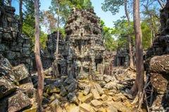 Αρχαίος ναός TA Prohm σε Angkor Wat σύνθετο Στοκ Φωτογραφία