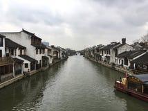 Αρχαίος ποταμός γεφυρών Qingming φυσικός, Wuxi, Κίνα Στοκ Εικόνα