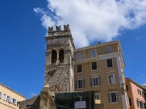 Αρχαίος πύργος εκκλησιών στην πόλη της Κέρκυρας στο νησί της Κέρκυρας Στοκ Εικόνα
