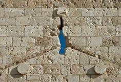 αρχαίος τοίχος πετρών τεμ&a Στοκ Φωτογραφία