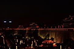 Αρχαίος τοίχος πόλεων Xi'an το βράδυ Στοκ φωτογραφία με δικαίωμα ελεύθερης χρήσης