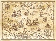 Αρχαίος χάρτης πειρατών της καραϊβικής θάλασσας με τα σκάφη, τα νησιά και τα πλάσματα φαντασίας απεικόνιση αποθεμάτων