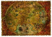 Αρχαίος χάρτης πειρατών των θησαυρών με τους δράκους απεικόνιση αποθεμάτων