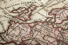 Αρχαίος χάρτης του UK και της Ευρώπης Στοκ Εικόνες