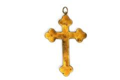 Αρχαίος χρυσός σταυρός που απομονώνεται στο λευκό Στοκ Φωτογραφίες