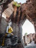 Αρχαίο άγαλμα του Βούδα στο βουδιστικό ναό Στοκ εικόνα με δικαίωμα ελεύθερης χρήσης