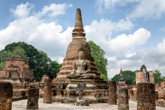 Αρχαίο άγαλμα του Βούδα σε Sukhothai Στοκ Φωτογραφίες