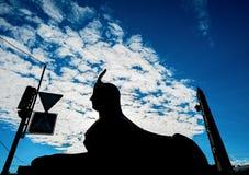 Αρχαίο αιγυπτιακό sphinx, σκιαγραφία Στοκ φωτογραφία με δικαίωμα ελεύθερης χρήσης