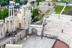 Αρχαίο αμφιθέατρο σε Plovdiv, Βουλγαρία Στοκ Εικόνες