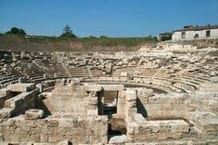 Αρχαίο αμφιθέατρο στη archeological περιοχή της Larissa Ελλάδα Στοκ Εικόνες
