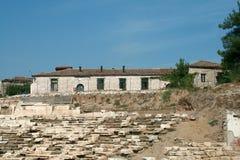 Αρχαίο αμφιθέατρο στη archeological περιοχή της Larissa Ελλάδα Στοκ Φωτογραφίες