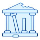 Αρχαίο επίπεδο εικονίδιο καταστροφών Τα ελληνικά καταστρέφουν τα μπλ διανυσματική απεικόνιση