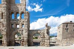 Αρχαίο θέατρο σε Aosta - την Ιταλία Στοκ Εικόνα