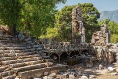 Αρχαίο θέατρο στην παλαιά πόλη Phaselis, Antalya Destrict, Τουρκία Στοκ εικόνα με δικαίωμα ελεύθερης χρήσης
